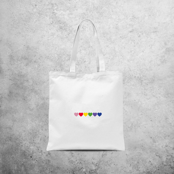 Hearts rainbow tote bag