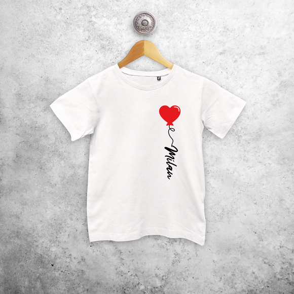 Heart balloon kids shortsleeve shirt