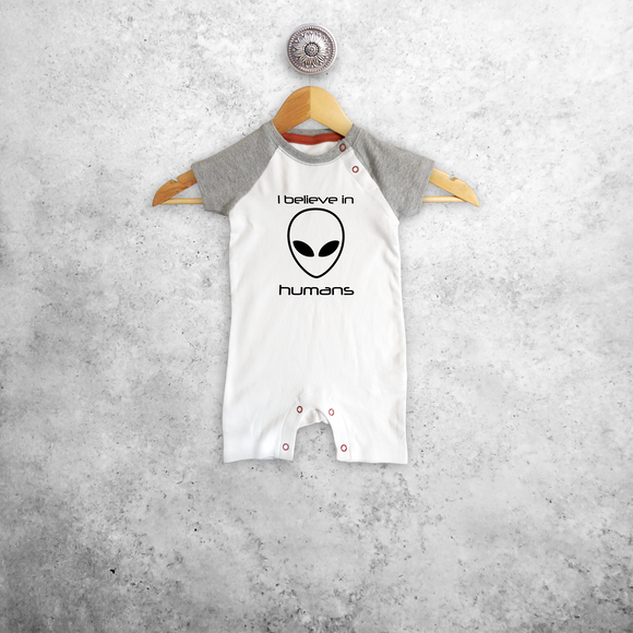 'I believe in humans' baby shortsleeve romper