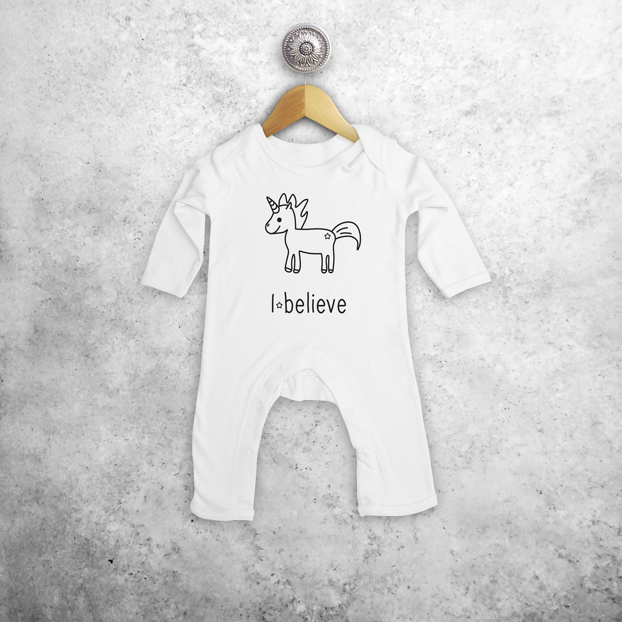 'I believe' unicorn baby bodysuit
