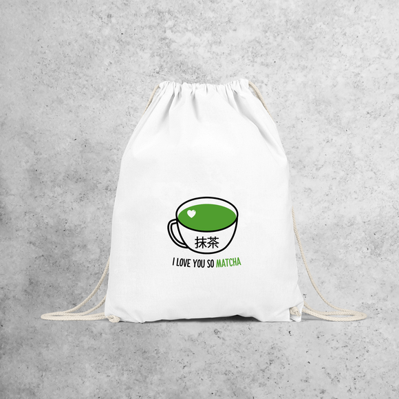 'I love you so matcha' backpack