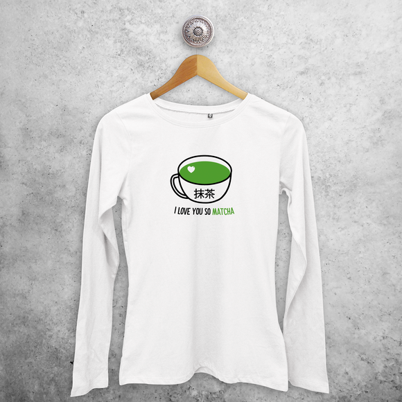 'I love you so matcha' volwassene shirt met lange mouwen
