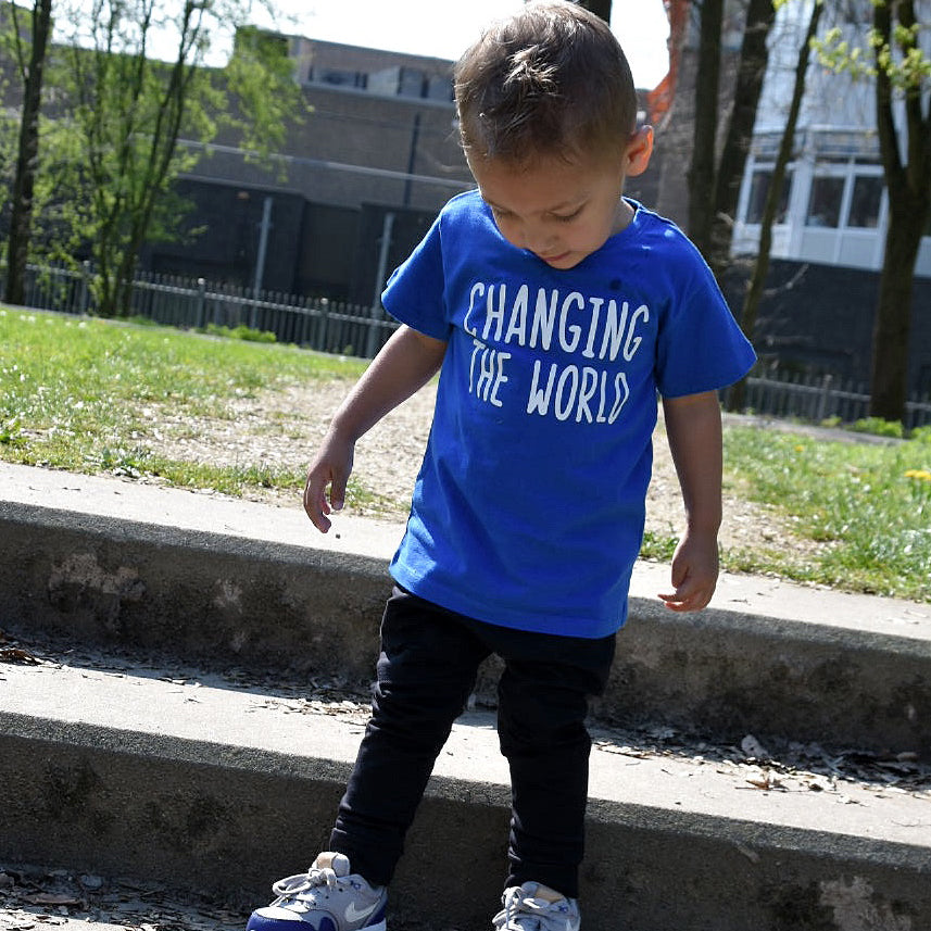 'Changing the world' kids shortsleeve shirt