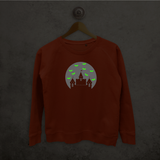 Castle and bats glow in the dark sweater
