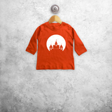 Castle and bats glow in the dark baby longsleeve shirt