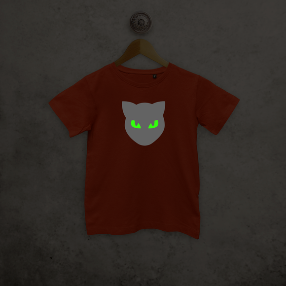Cat glow in the dark kids shortsleeve shirt