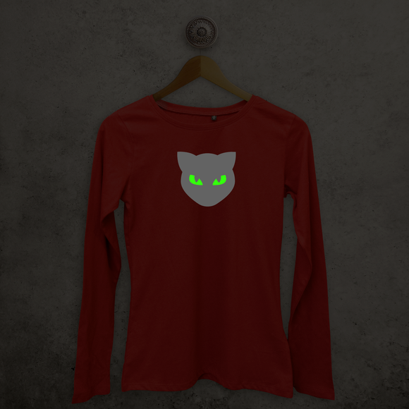 Kat glow in the dark volwassene shirt met lange mouwen