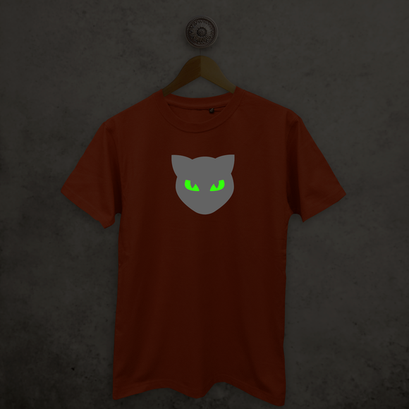 Cat glow in the dark adult shirt