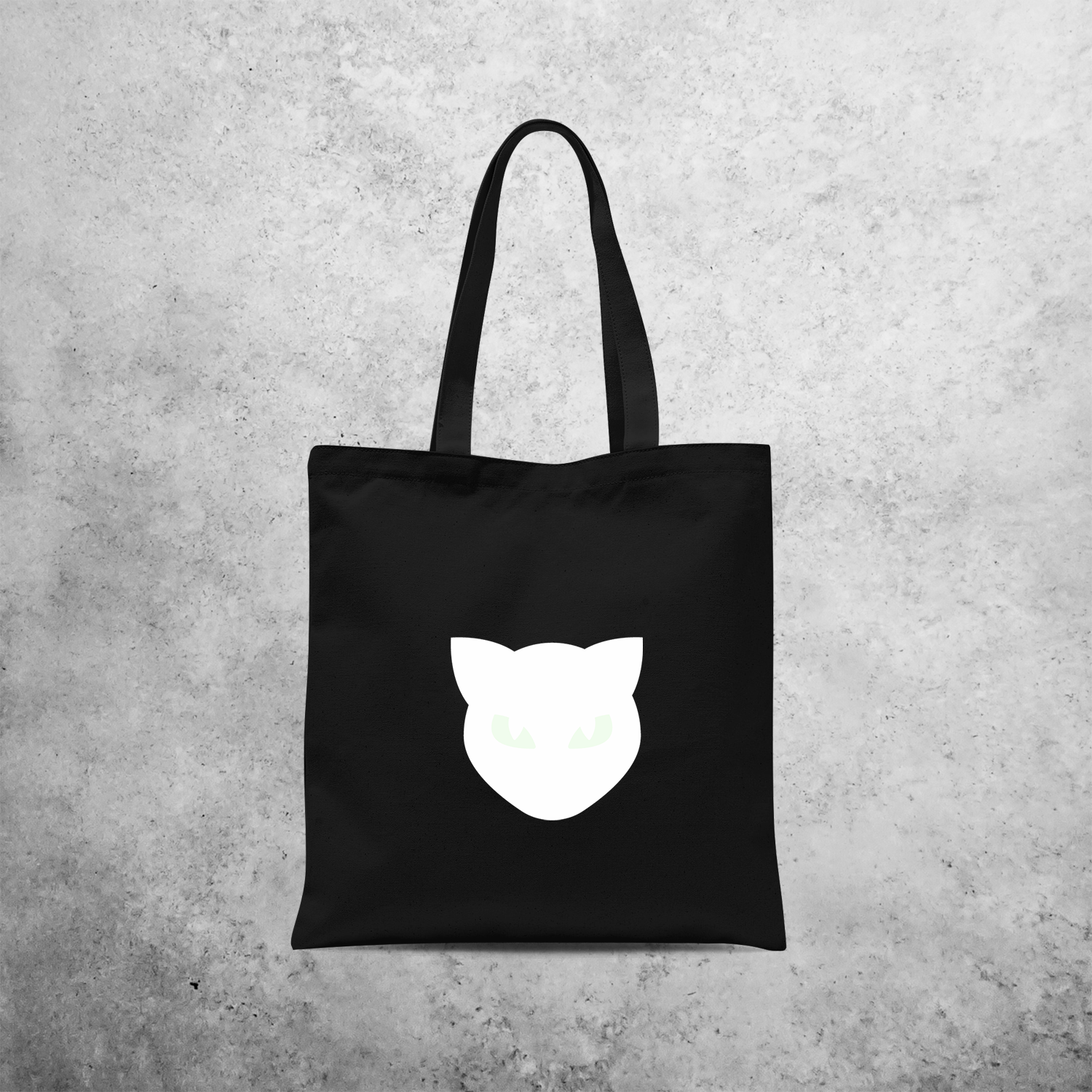 Cat glow in the dark tote bag