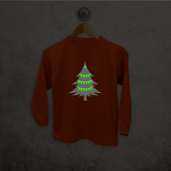 Christmas tree glow in the dark kids longsleeve shirt