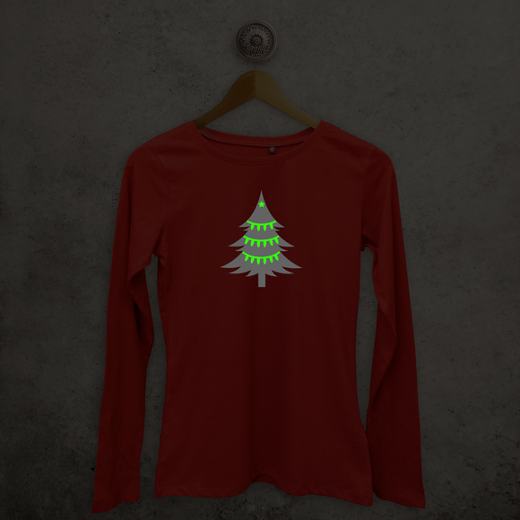 Kerstboom glow in the dark volwassene shirt met lange mouwen