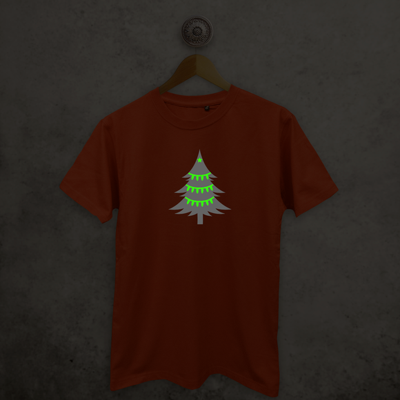 Christmas tree glow in the dark adult shirt