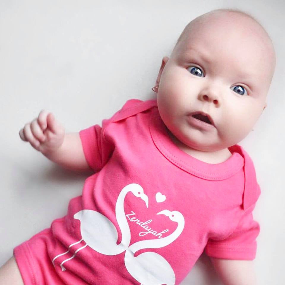 Flamingo baby shortsleeve bodysuit