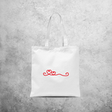 Curly heart tote bag