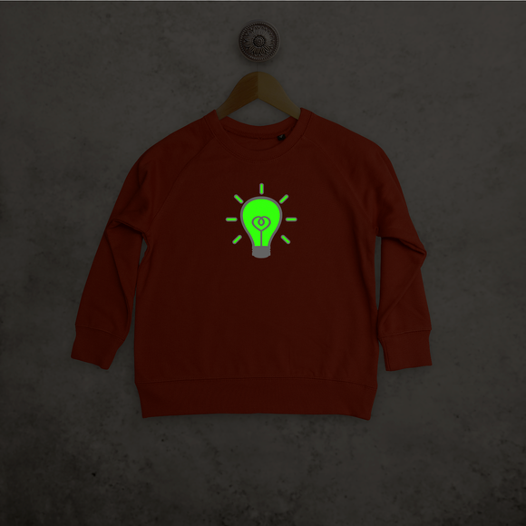 Light bulb glow in the dark kids sweater