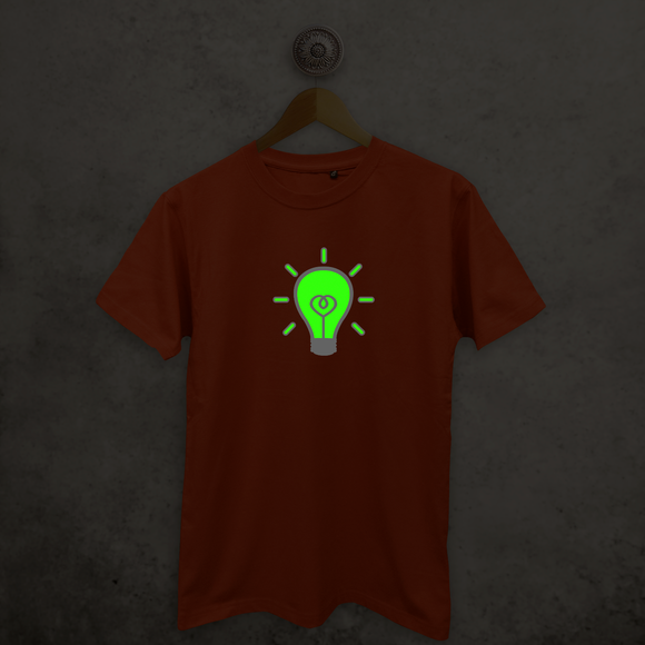 Light bulb glow in the dark adult shirt