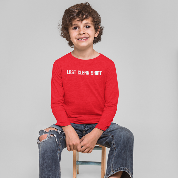 'Last clean shirt' kids longsleeve shirt