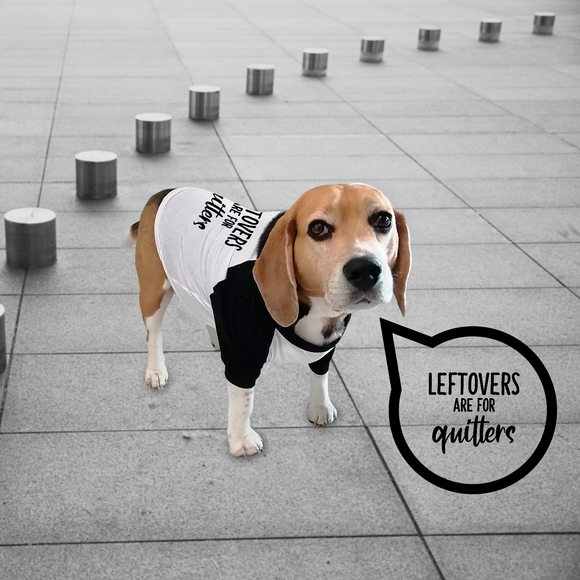 'Leftovers are for quitters' dog shirt