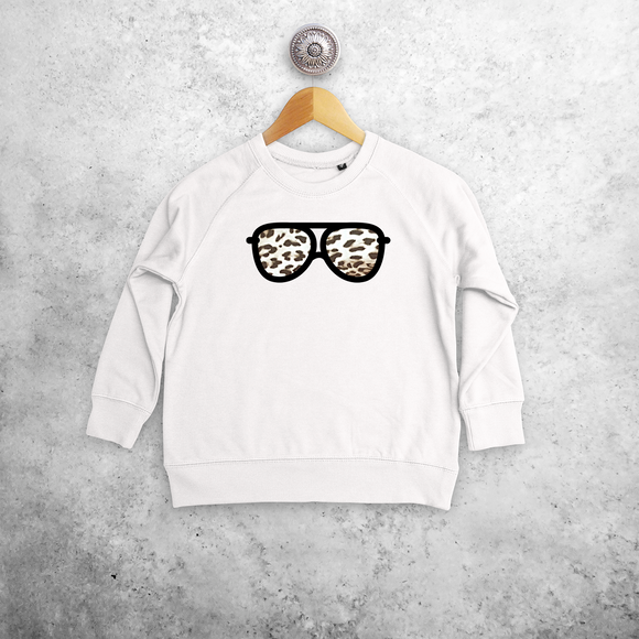 Leopard glasses kids sweater