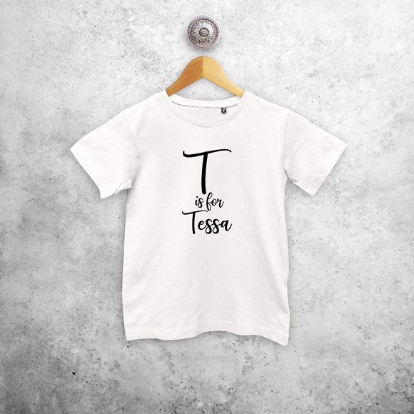 Letter and name kids shortsleeve shirt
