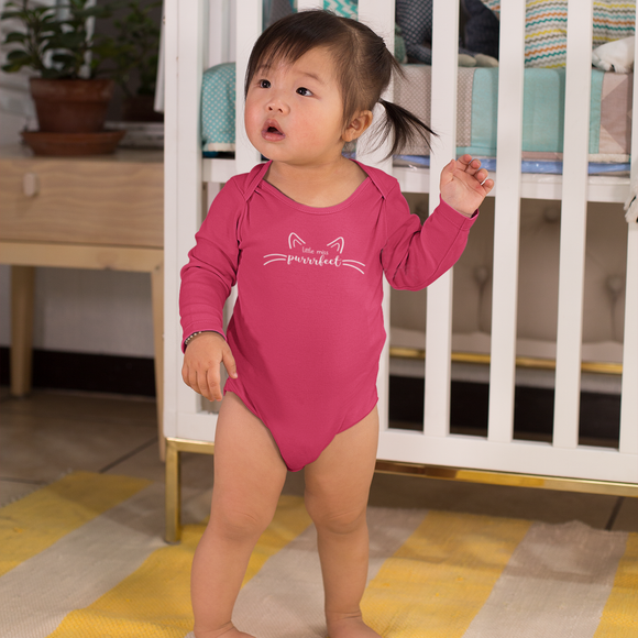 'Little miss purrrfect' baby longsleeve bodysuit