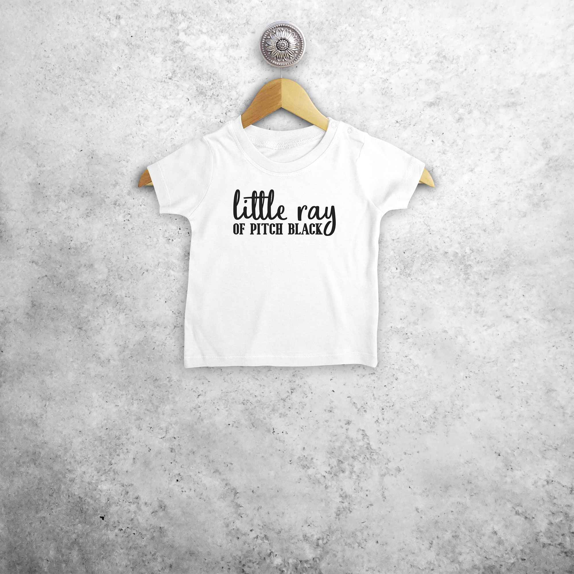 'Little ray of pitch black' baby shortsleeve shirt