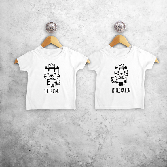 'Little king' & 'Little queen' baby sibling shirts