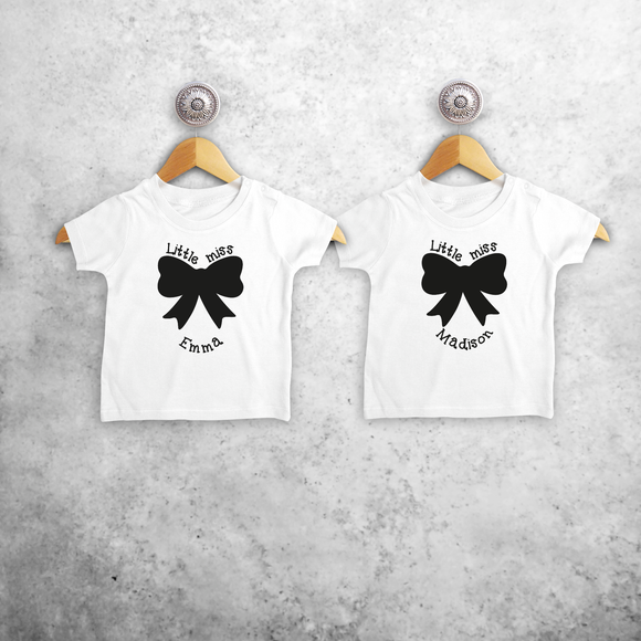'Little miss' & 'Little miss' baby sibling shirts