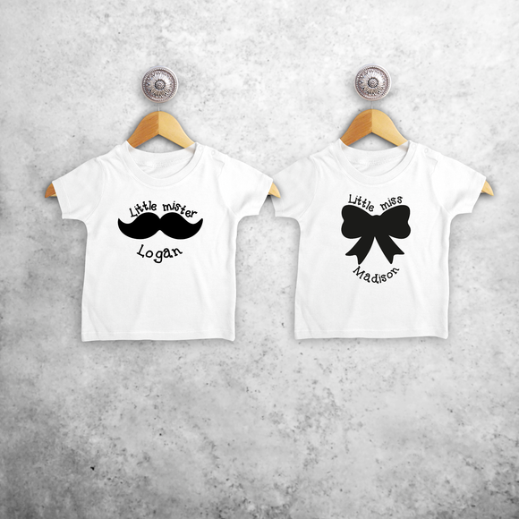 'Little mister' & 'Little miss' baby sibling shirts