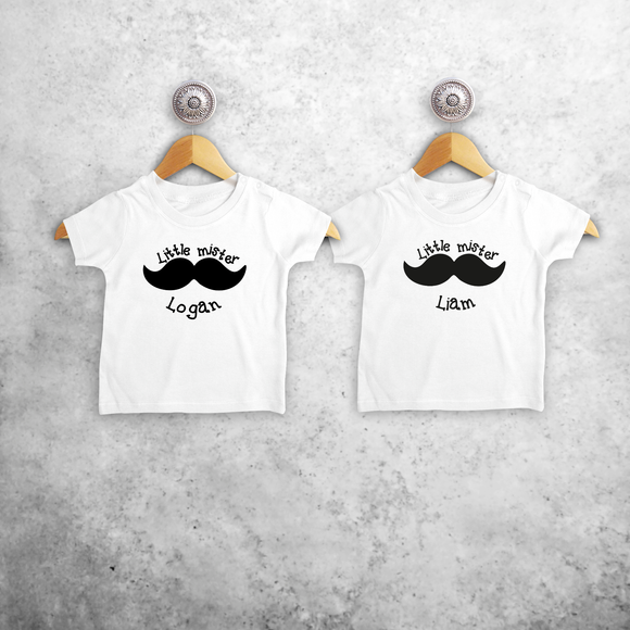 'Little mister' & 'Little mister' baby sibling shirts