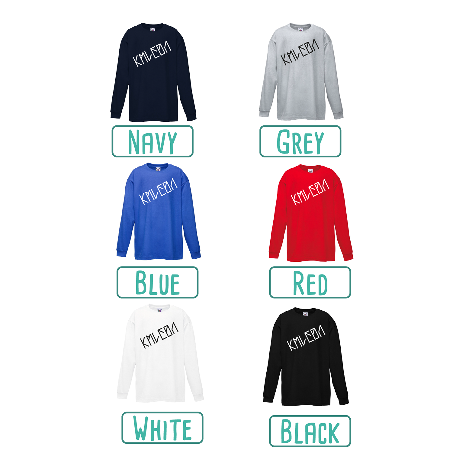 Colour options for kids shirts with long sleeves by KMLeon.