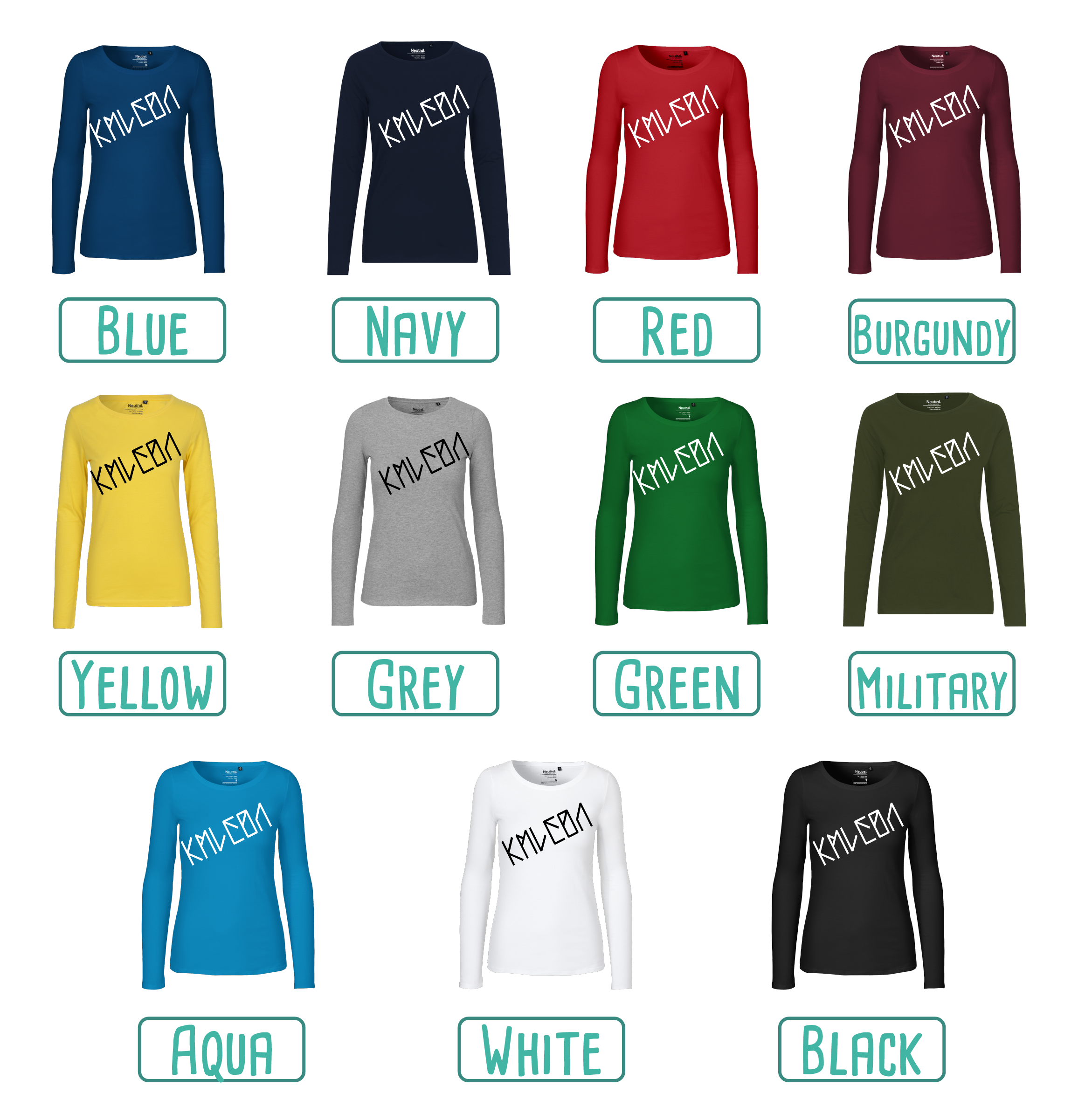 Colour options for adult shirts with long sleeves by KMLeon.