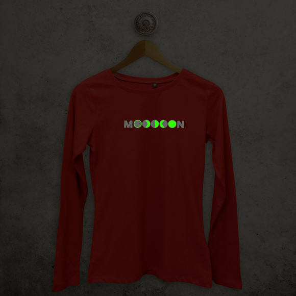 Maan glow in the dark volwassene shirt met lange mouwen
