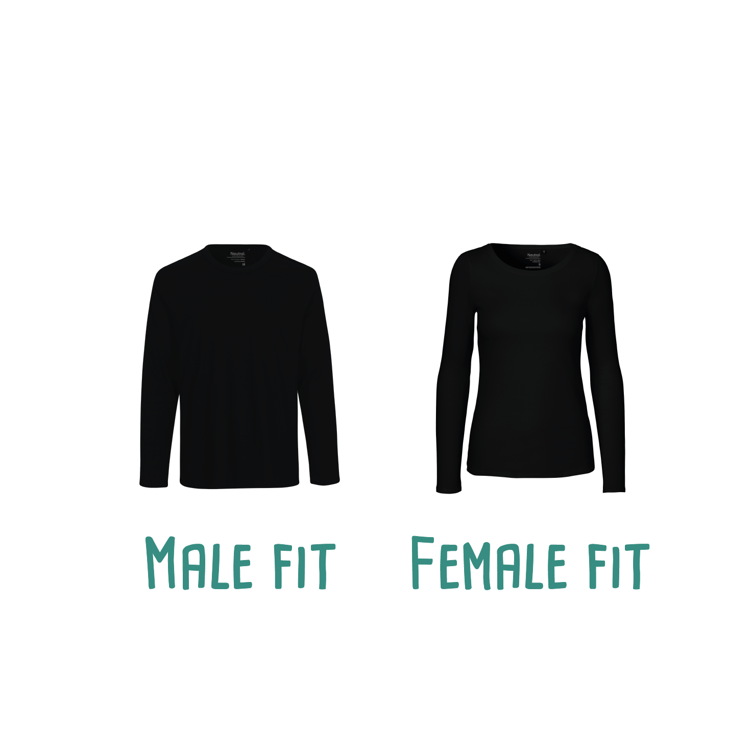 Difference between male or female fit of adult shirts with long sleeves by KMLeon.
