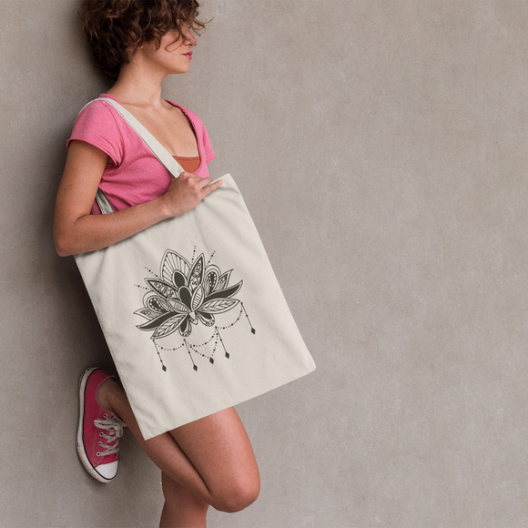 Mandala lotus tote bag