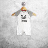 'My cat thinks I'm cool' baby shortsleeve romper
