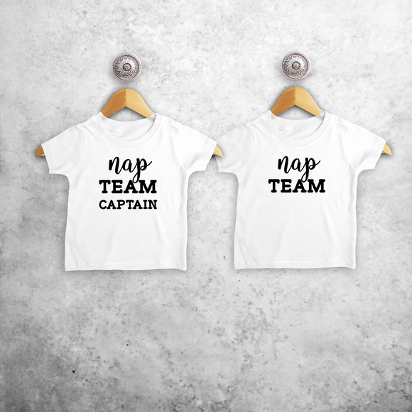 'Nap team captain' & 'Nap team' baby sibling shirts