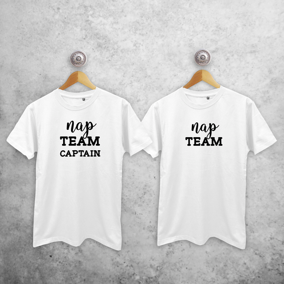 'Nap team captain' & 'Nap team' adult sibling shirts
