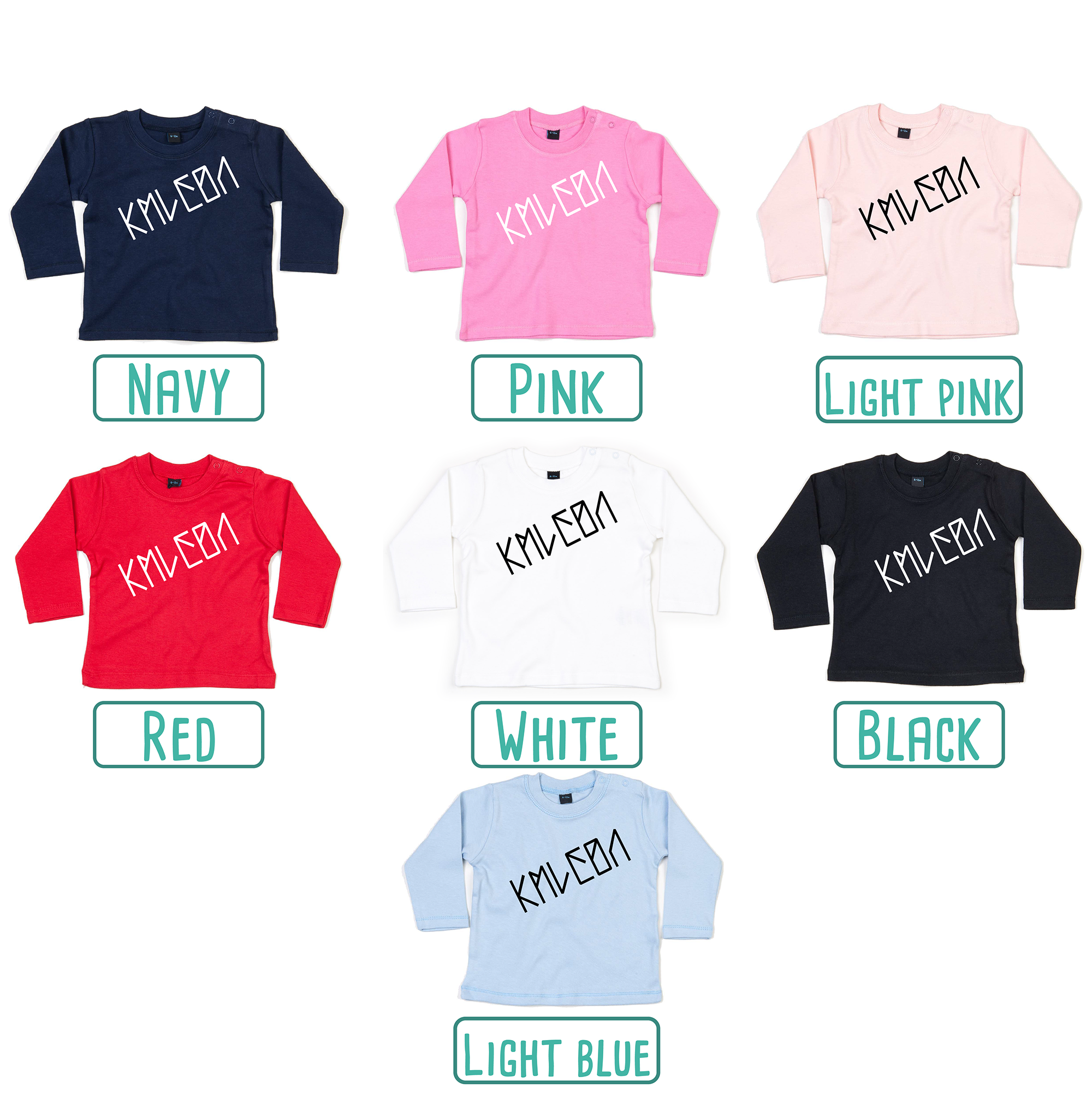 Colour options for baby or toddler shirts with long sleeves by KMLeon.