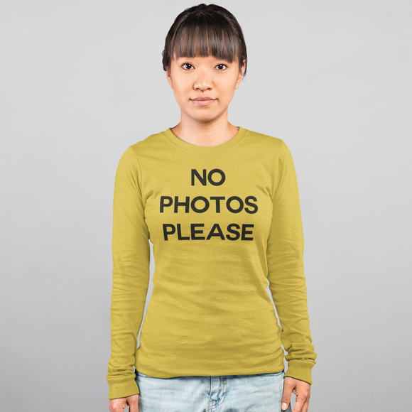'No photos please' adult longsleeve shirt