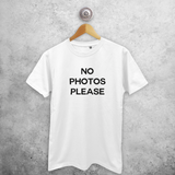 'No photos please' adult shirt