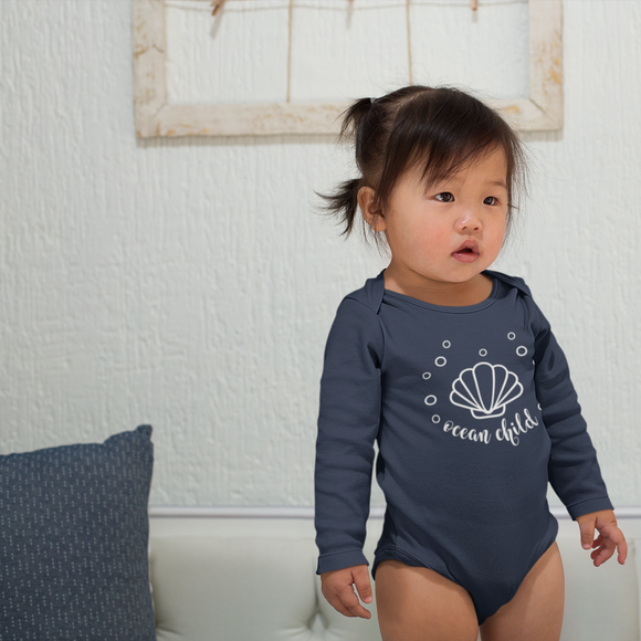 'Ocean child' baby longsleeve bodysuit