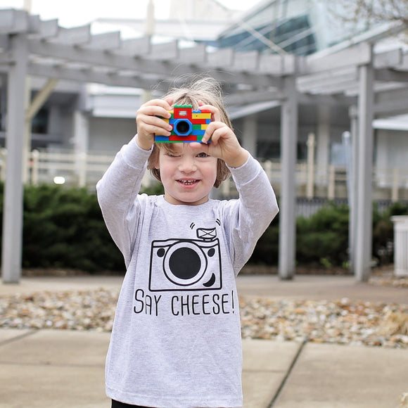 'Say cheese' kids longsleeve shirt