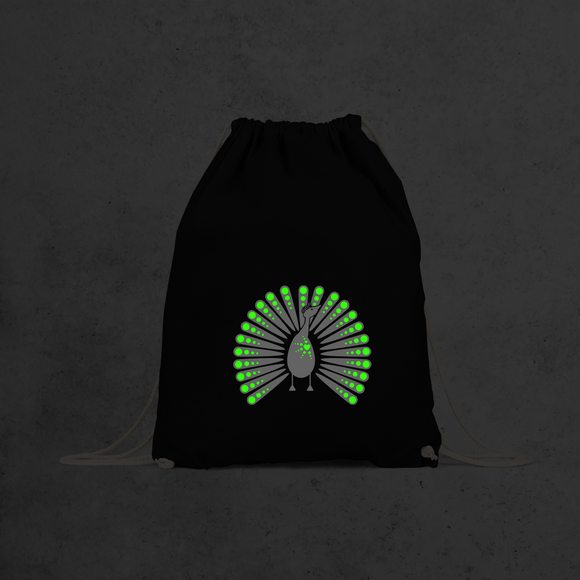 Peacock glow in the dark backpack