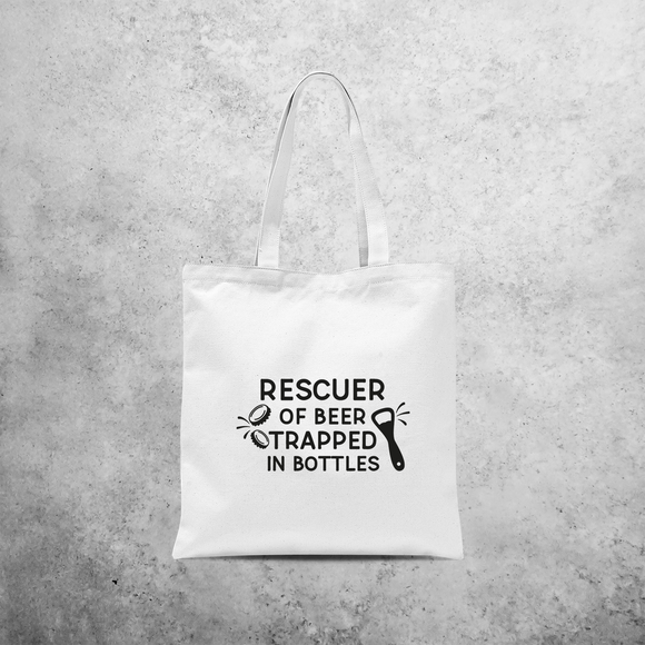 'Rescuer of beer trapped in bottles' tote bag