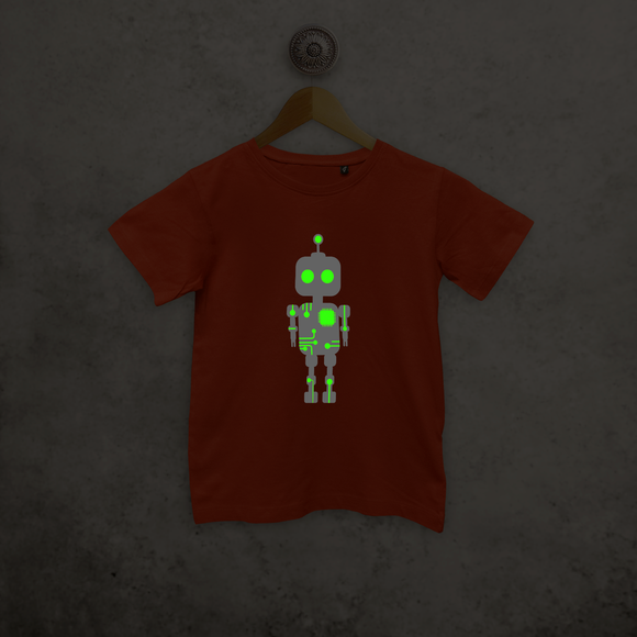 Robot glow in the dark kids shortsleeve shirt