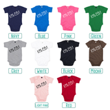 Colour options for baby or toddler bodysuits with short sleeves by KMLeon.