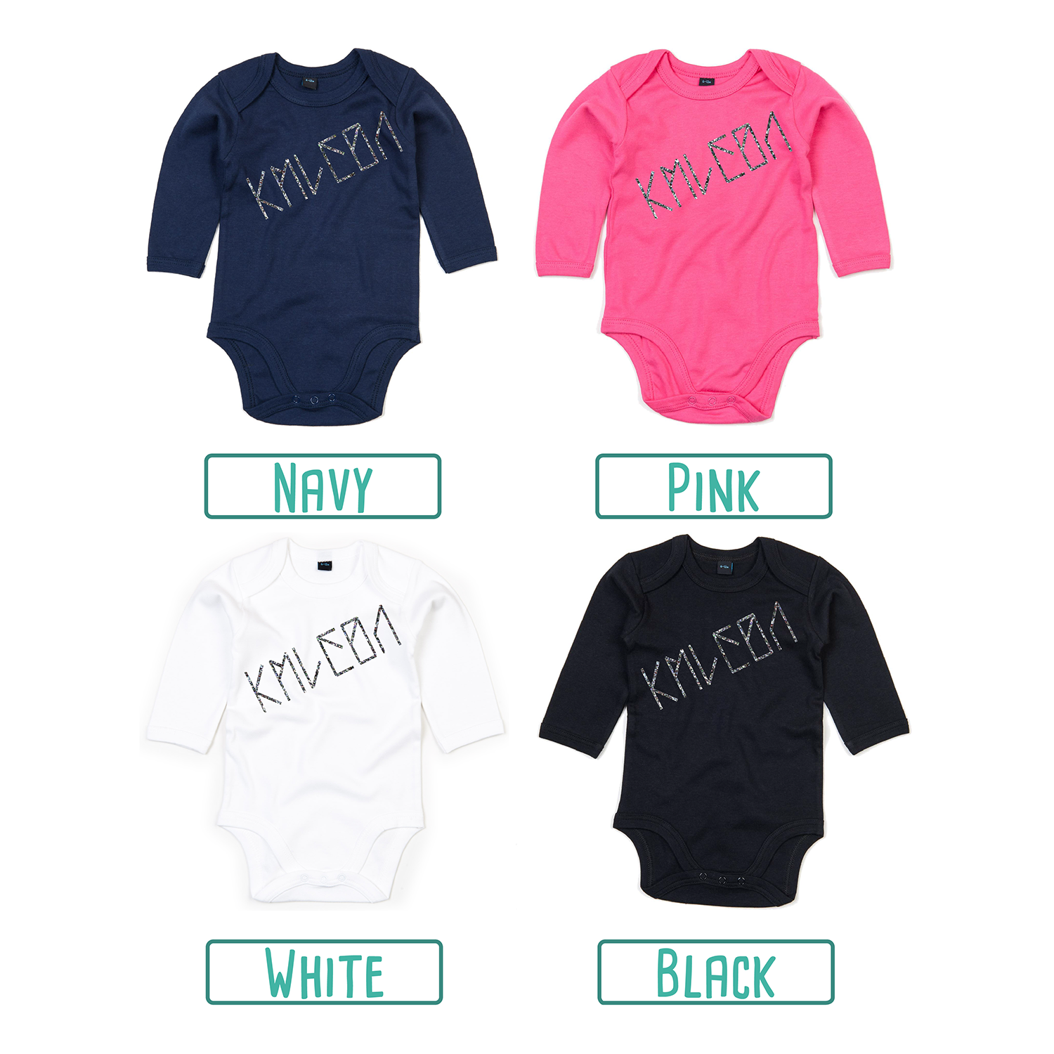 Colour options for baby or toddler bodysuits with long sleeves by KMLeon.