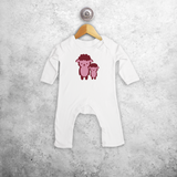 Pink sheep baby romper