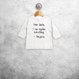 Baby or toddler shirt with long sleeves, with 'Santa, I can explain everything' print by KMLeon.